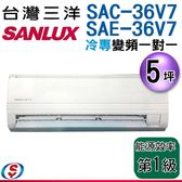 【信源】 5坪【三洋冷專變頻分離式一對一冷氣】SAE-36V7+SAC-36V7 含標準安裝