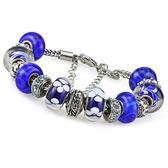 手鍊潘朵拉元素串珠925純銀-琉璃飾品亮麗藍色生日情人節禮物女配件73ay168[時尚巴黎]