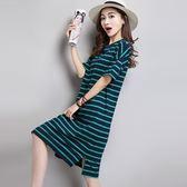 大碼女裝短袖t恤 女寬鬆純棉中長款2019夏季新款條紋連身裙打底衫