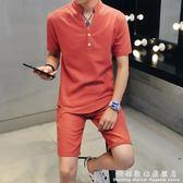 男士運動休閒服小伙亞麻短袖T恤兩件套夏季韓版帥氣薄款社會套裝 科炫數位