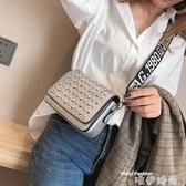 鉚釘包 韓版小包包女2020ins超火寬帶時尚鉚釘條小方包側背斜背包包 唯伊