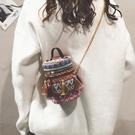 小包包女新款潮冬季草編織手提側背包斜背包少女民族風小圓包 麗人印象 全館免運