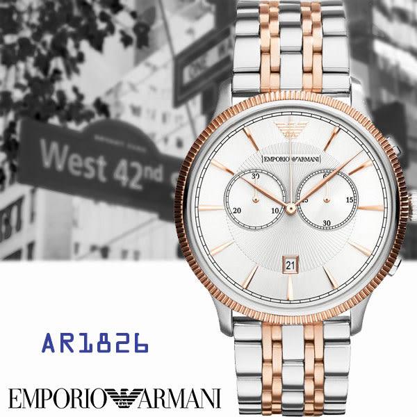 ARMANI亞曼尼 霸氣大錶面半玫瑰金雙眼碼表日期鋼帶男錶x43mm・AR1826|名人鐘錶高雄門市