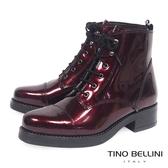 Tino Bellini義大利進口酷勁牛漆皮綁帶軍靴_ 紅 B69005 歐洲進口款