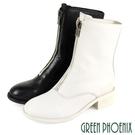 U28-20005 女款胎牛皮短靴 國際精品素雅簡約拉鍊日本胎牛皮粗跟短靴/馬靴【GREEN PHOENIX】