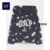Gap女嬰幼童 Logo系列舒適純棉毛圈布印花連帽休閒外套 259362-星星靛藍