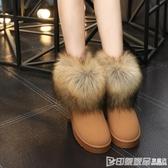 2019冬季新款磨砂仿狐貍毛雪地靴加絨加厚棉鞋面包女鞋保暖短筒靴 印象家品