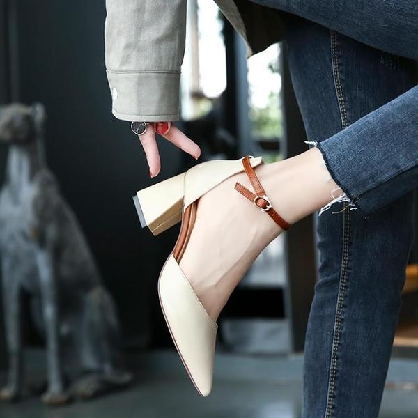 高跟鞋粗跟尖頭新款百搭夏季新款網紅仙女中跟一字扣單鞋子女