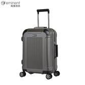 eminent【亞伯特】暗色調獨特壓紋設計PC鋁框行李箱 20吋(黑酷綠) 9U4