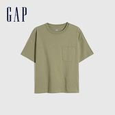 Gap女裝 休閒單口袋高克重汗布短袖T恤 629545-綠色