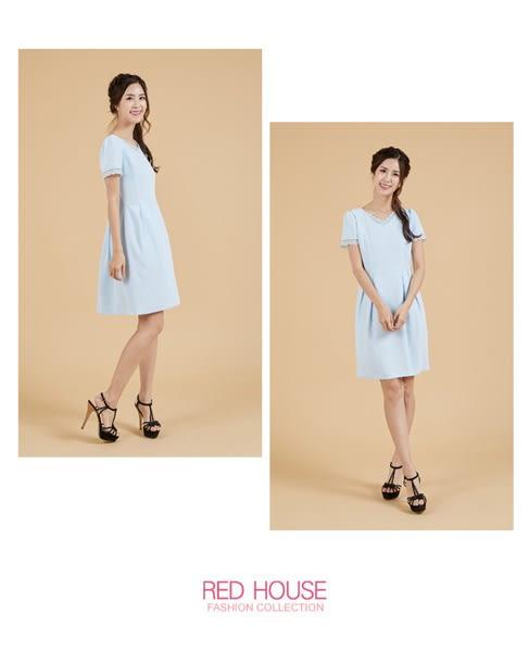 RED HOUSE-蕾赫斯-素面蕾絲拼接洋裝(淺藍色)