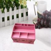 田園首飾盒 超大號梳妝盒桌面收納盒 木質化妝品收納盒【四抽粉色】