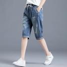 2021夏季新款五分牛仔褲女薄款高腰寬鬆...