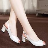 魚口鞋 百麗純愛2021新款女鞋真皮粗跟女涼鞋高跟魚嘴扣帶百搭時尚夏外穿  美物 99免運