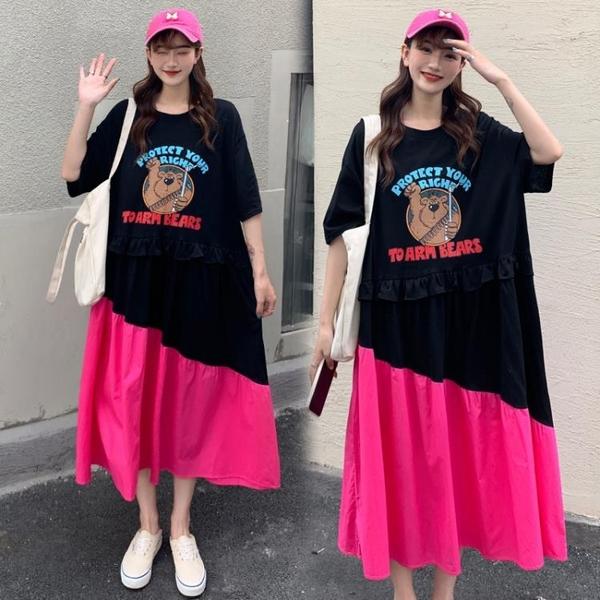 L-4XL胖妹妹大碼洋裝連身裙~大碼寬松胖mm拼接長裙女裝連身裙3F061A衣時尚
