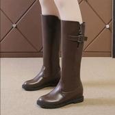 長筒靴 秋冬季真皮中筒女平底長筒靴女騎士靴高筒平跟長靴子