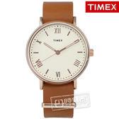 TIMEX 天美時 / TXTW2R28800 / 美國指標 簡約羅馬設計 真皮手錶 米白x玫瑰金框x卡其 41mm