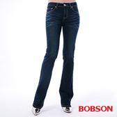BOBSON 女款口袋菱紋刺繡小喇叭褲(9082-52)