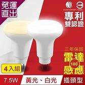 TOYAMA特亞馬 LED雷達感應燈7.5W插頭型 4入組 白光、黃光任選【免運直出】