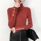 長袖 2021春新款韓版套頭內搭長袖高領打底針織衫修身顯瘦黑色毛衣女【快速出貨八折搶購】