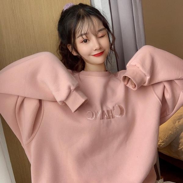 VK旗艦店 韓國學院風粉嫩色絨面T恤寬鬆單品長袖上衣