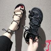 chic交叉綁帶套趾夾腳涼鞋子女春夏新款韓百搭平底網紅羅馬鞋