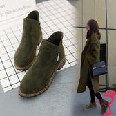 短靴 春秋季新款歐美女短靴馬丁靴冬磨砂粗跟中跟休閒百搭學生女鞋