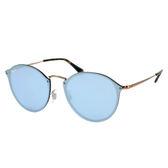 台灣原廠公司貨-【Ray Ban 雷朋】RB3574N-90351U 雷朋復古圓型無框太陽眼鏡(金框/水銀鏡)