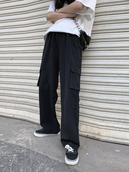 超火工裝褲女秋冬季黑色寬鬆高腰直筒褲顯瘦小個子拖地闊腿褲垂感 伊蘿 618狂歡