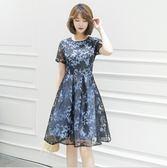 中大尺碼洋裝 蕾絲繡花清新圓領短袖性感氣質舒適連衣裙  L-5XL #wm400 ❤卡樂❤