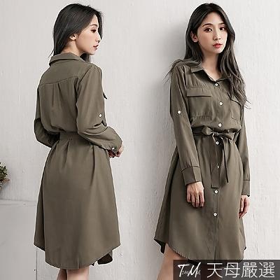 【天母嚴選】雙口袋造型附綁帶襯衫洋裝(共二色)