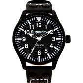 【台南 時代鐘錶 Superdry】極度乾燥 美式和風 文化衝擊潮流腕錶 SYG151W 黑白 48mm