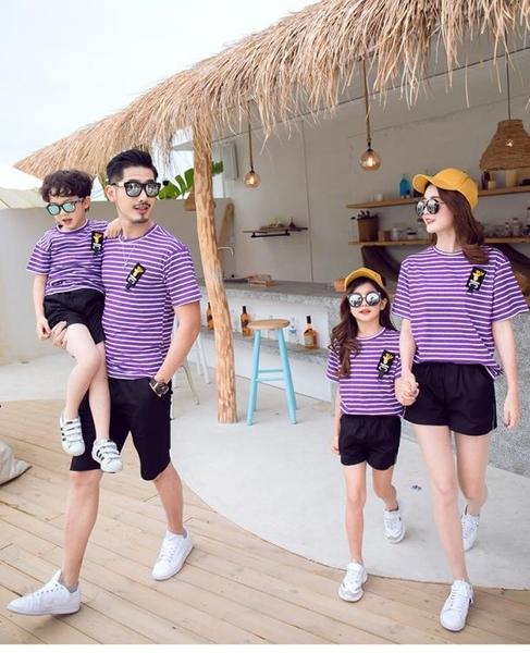 親子裝夏裝加大尺碼新款潮洋氣全家母女母子一家三口四口條紋度假套裝