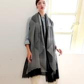 羊毛披肩-復古黑白條紋毛邊女圍巾73wq29【時尚巴黎】