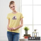 【JEEP】女裝 美式風格休閒短袖TEE-檸檬黃