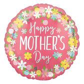 18吋鋁箔氣球(不含氣)-粉紅花環母親節