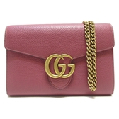 GUCCI 古馳 GG Marmont 磚紅色小牛皮GG金釦肩背包 手拿包 Chain Wallet 【BRAND OFF】
