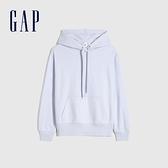 Gap女裝 碳素軟磨系列 法式圈織基本款運動連帽休閒上衣 882338-天藍色