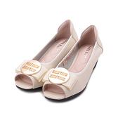 GOOD-DAY 牛皮圓釦魚口跟鞋 米 女鞋