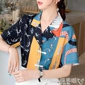 雙11民族風上衣短袖襯衫女設計感小眾2020年夏季新款韓版寬鬆復古印花盤扣上衣女