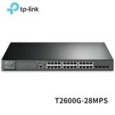 TP-LINK T2600G-28MPS (TL-SG3424P) V3 JetStream 24埠 Gigabit L2管理型PoE+交換器(含4個SFP插槽)