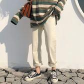 春夏新款韓版百搭休閒褲女寬鬆微直筒褲純色卷邊長褲學生褲子潮女