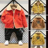 兒童牛仔外套男童牛仔外套加絨兒童羊羔絨上衣秋冬新款寶寶冬裝中小童加厚夾克伊芙莎