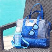【韓版】420D防水小清新雙層乾濕兩用手提收納袋/戶外包(深藍星星)