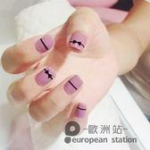 假指甲/貼片 粉紫色黑蝴蝶結 短款美甲款式 美甲甲片「歐洲站」