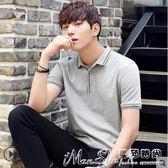 短袖Polo衫男士短袖T恤夏季新款韓版翻領Polo衫潮流修身 曼莎時尚