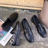 ins小皮鞋女2019春季新款復古英倫風圓頭低跟樂福鞋chic方頭單鞋【熱賣新品】