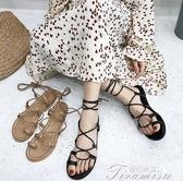 涼鞋-羅馬涼鞋女仙女風潮新款學生百搭平底交叉綁帶沙灘鞋 提拉米蘇