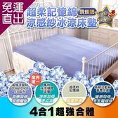 日本SANKi 超柔記憶綿涼感紗冰涼床墊(頂規版)藍色【免運直出】
