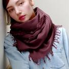 羊毛披肩-純色毛邊薄款休閒女圍巾4色73wq8【時尚巴黎】